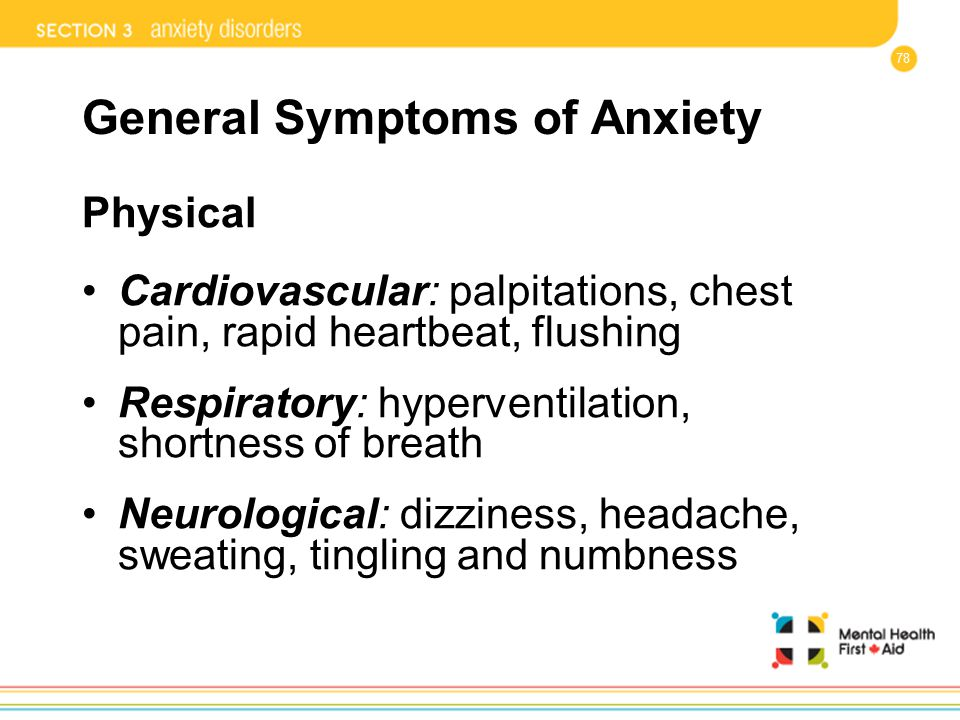 General Symptoms of Anxiety