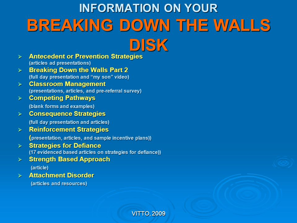 INFORMATION ON YOUR BREAKING DOWN THE WALLS DISK