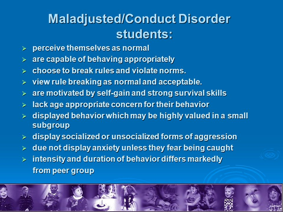 Maladjusted/Conduct Disorder students:
