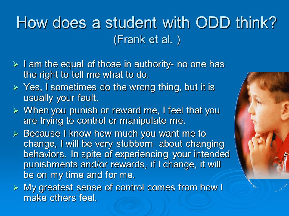 How does a student with ODD think (Frank et al. )