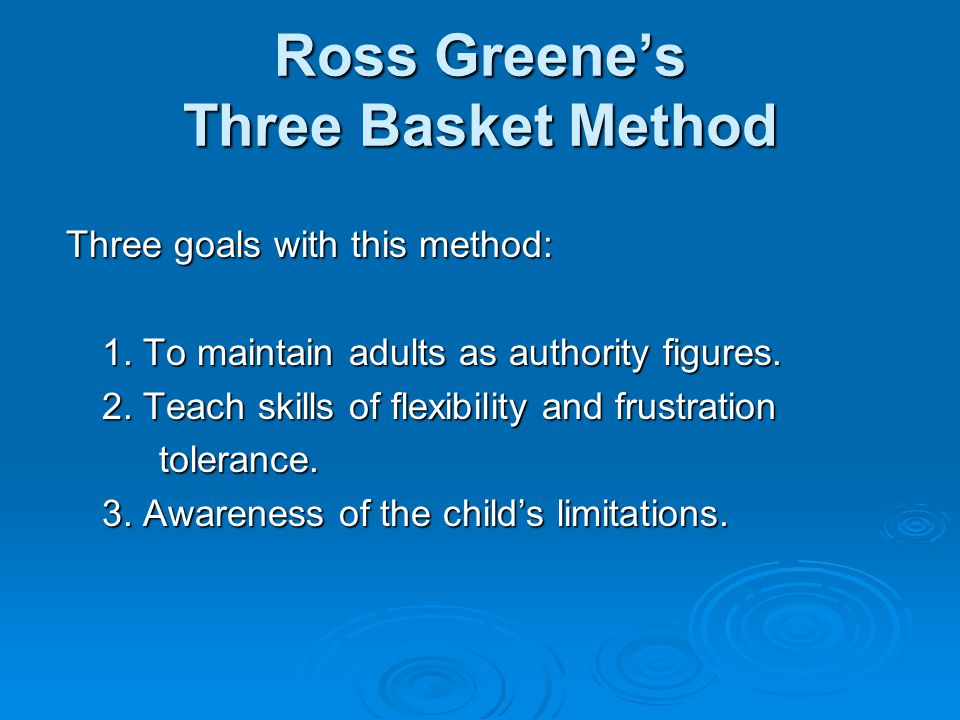 Ross Greene's Three Basket Method