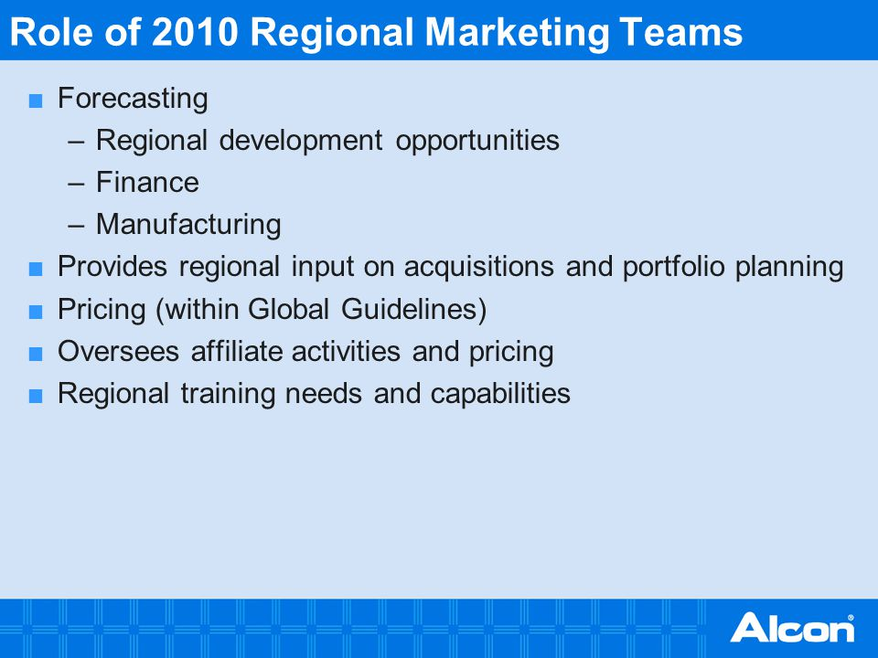 Role of 2010 Regional Marketing Teams