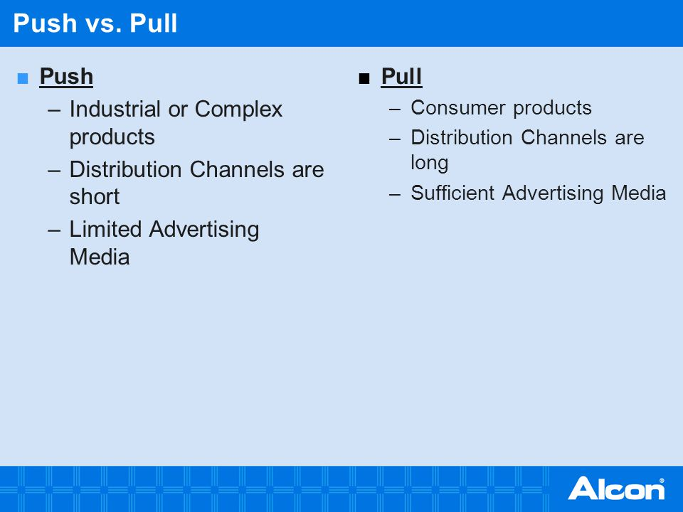 Push vs. Pull Push Industrial or Complex products