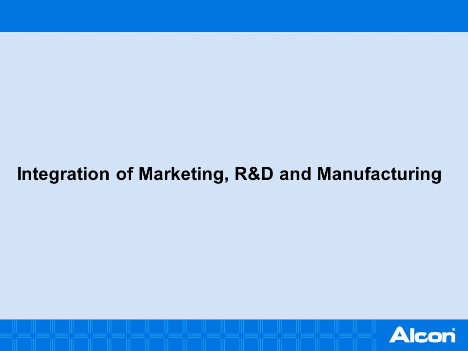 Integration of Marketing, R&D and Manufacturing