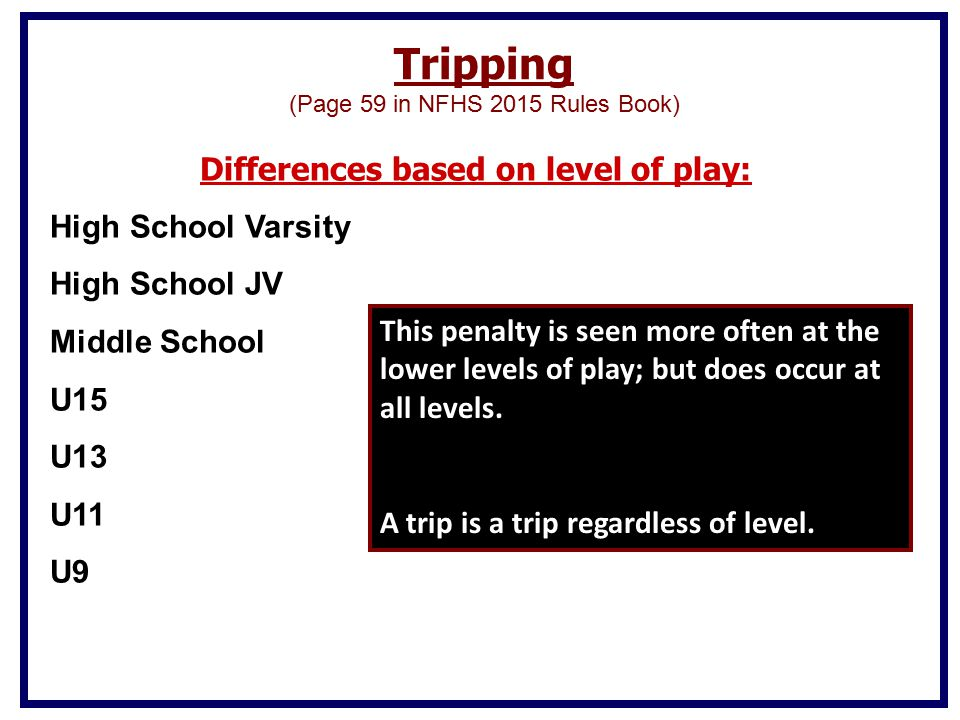 Differences based on level of play: