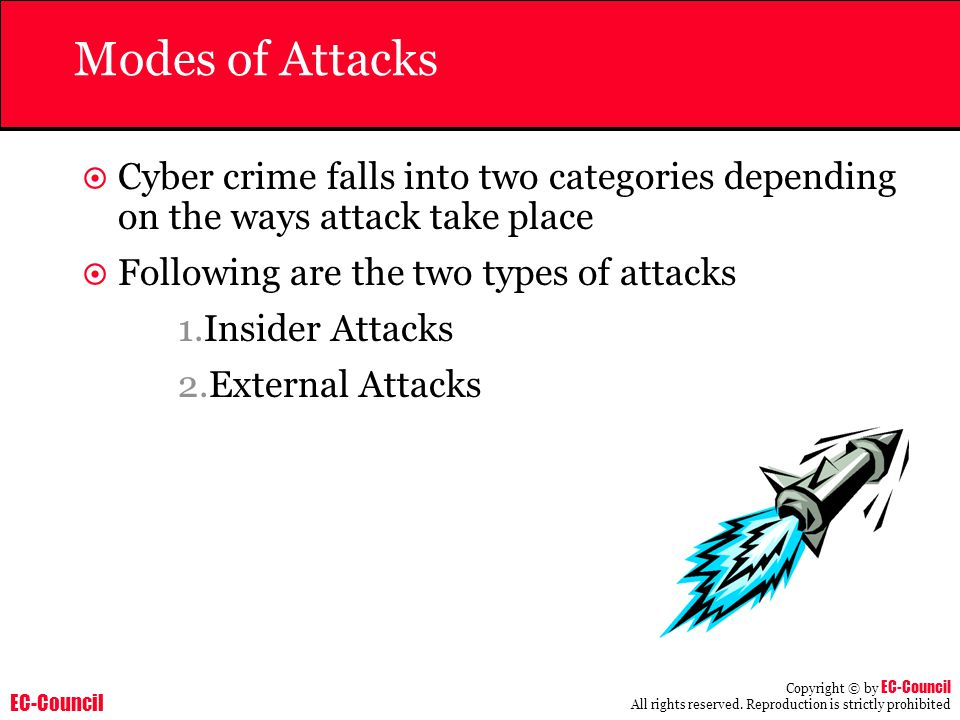 Modes of Attacks Cyber crime falls into two categories depending on the ways attack take place. Following are the two types of attacks.