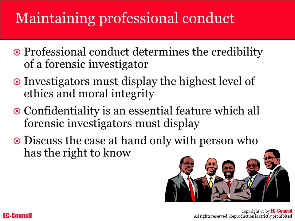 Maintaining professional conduct