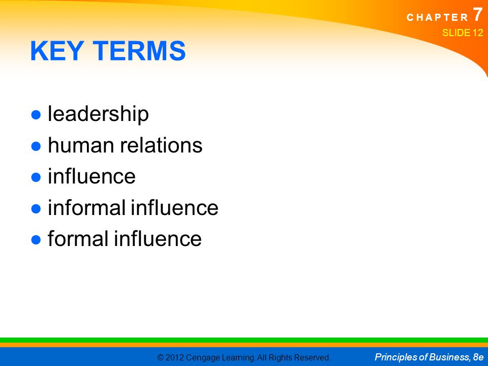 KEY TERMS leadership human relations influence informal influence