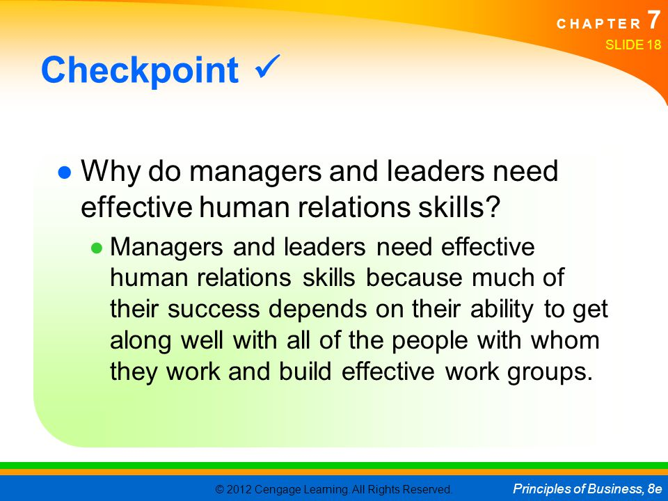Checkpoint  Why do managers and leaders need effective human relations skills