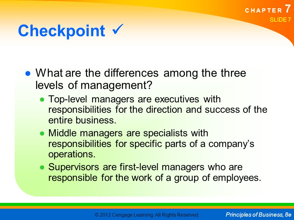 Checkpoint  What are the differences among the three levels of management