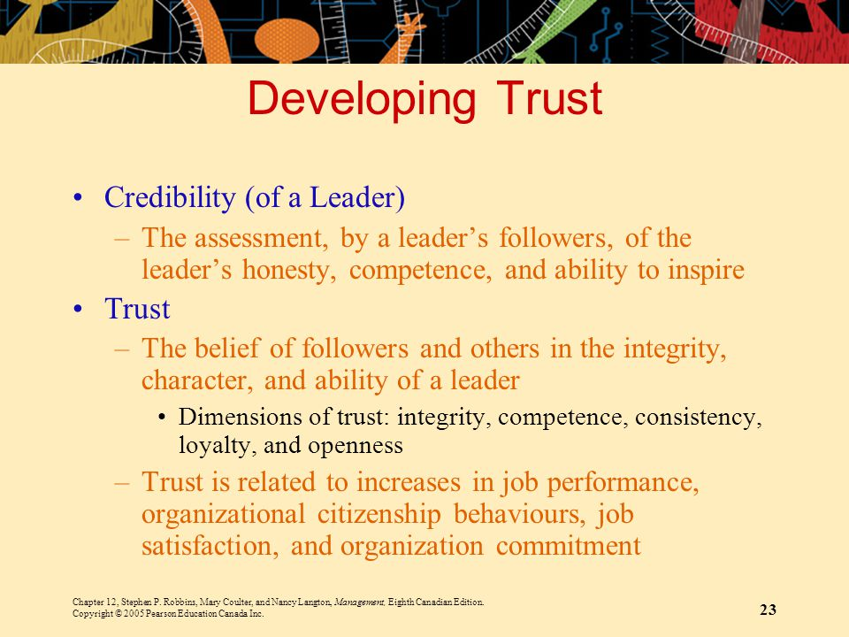 Developing Trust Credibility (of a Leader) Trust