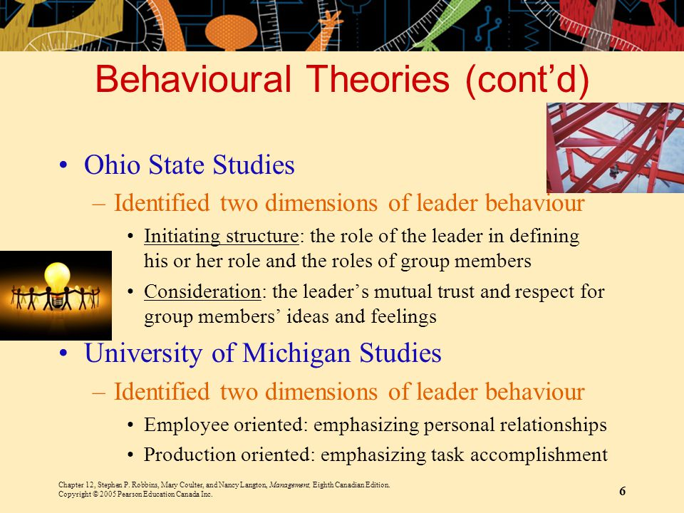 Behavioural Theories (cont'd)