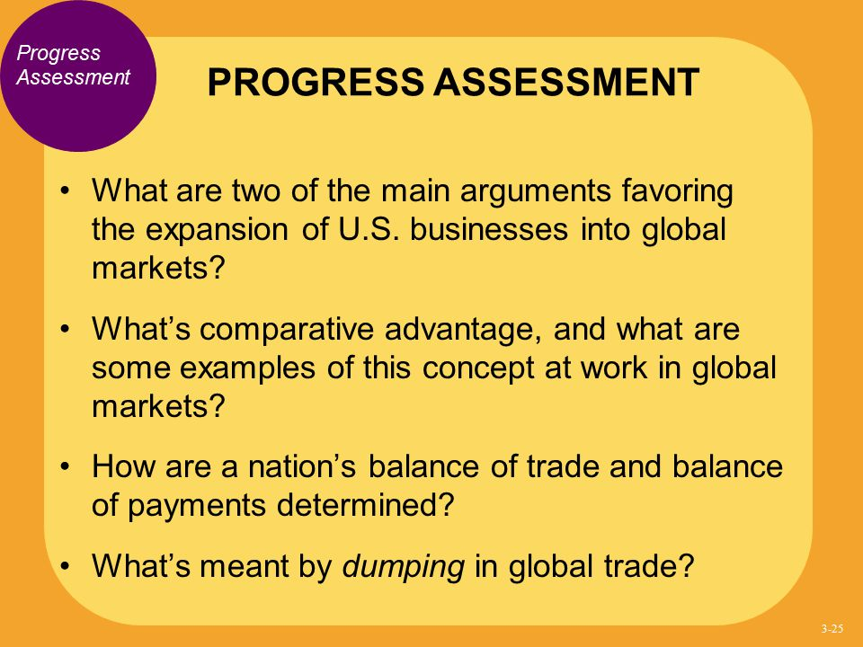 PROGRESS ASSESSMENT Progress Assessment. What are two of the main arguments favoring the expansion of U.S. businesses into global markets