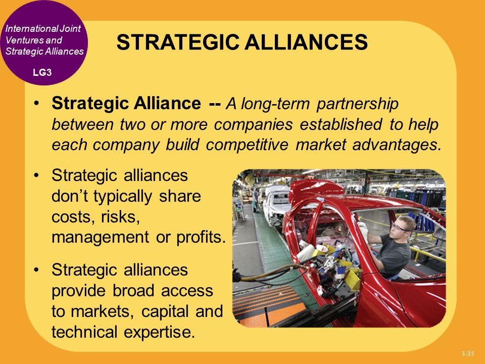 STRATEGIC ALLIANCES International Joint Ventures and Strategic Alliances. LG3.