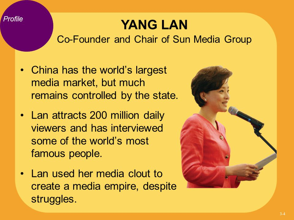 YANG LAN Co-Founder and Chair of Sun Media Group
