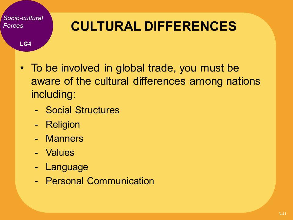 CULTURAL DIFFERENCES Socio-cultural Forces. LG4.