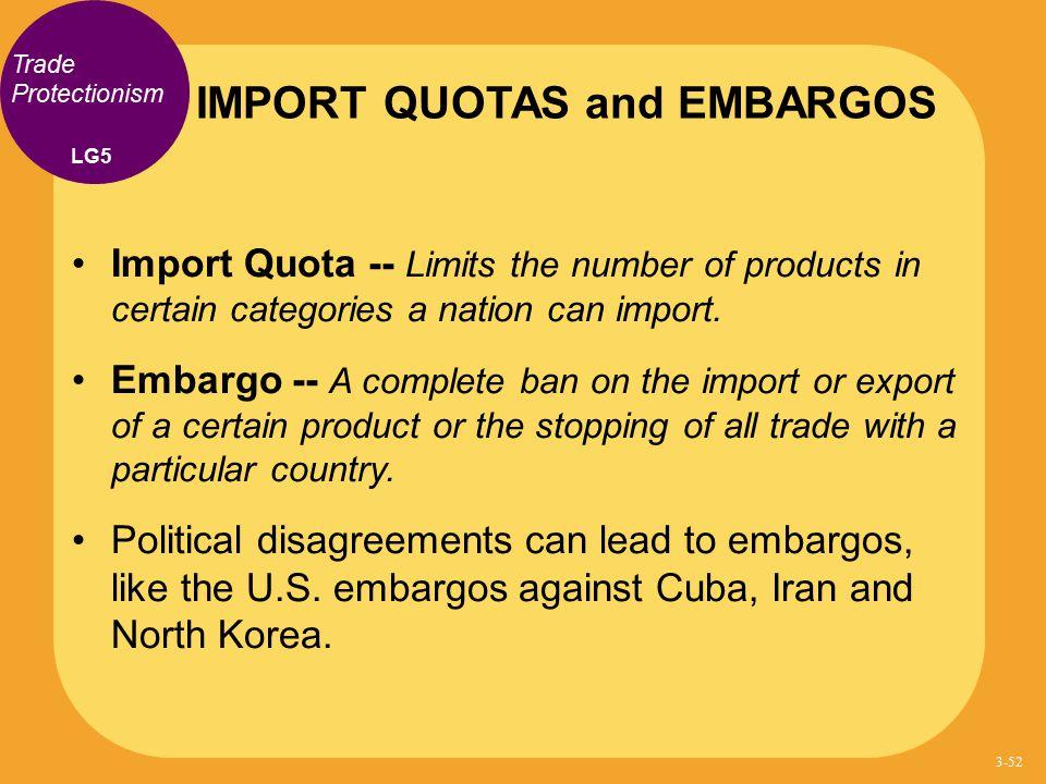 IMPORT QUOTAS and EMBARGOS