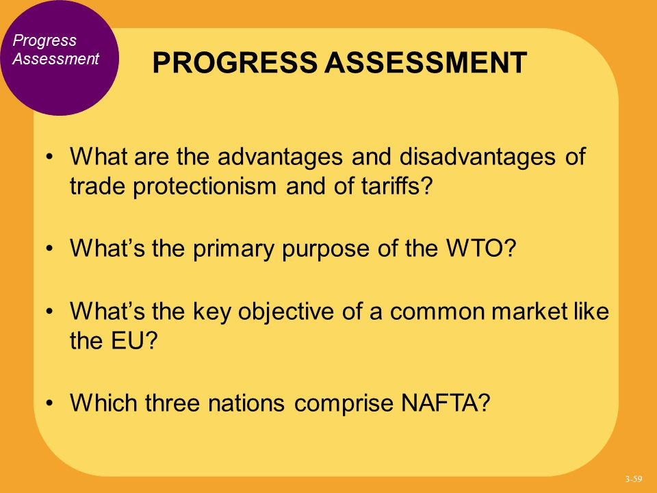 PROGRESS ASSESSMENT Progress Assessment. What are the advantages and disadvantages of trade protectionism and of tariffs