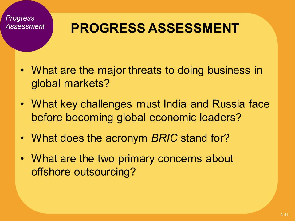 PROGRESS ASSESSMENT Progress Assessment. What are the major threats to doing business in global markets
