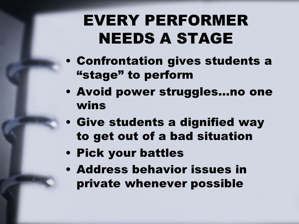 EVERY PERFORMER NEEDS A STAGE