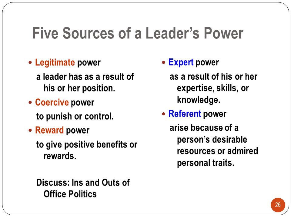 Five Sources of a Leader's Power