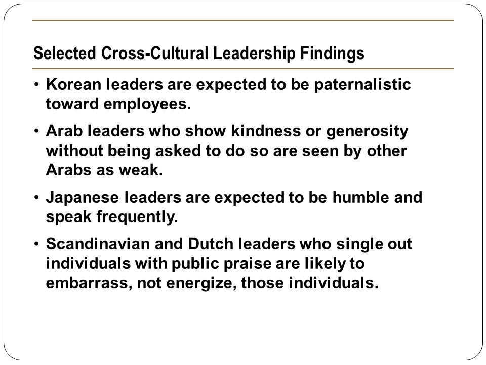 Selected Cross-Cultural Leadership Findings