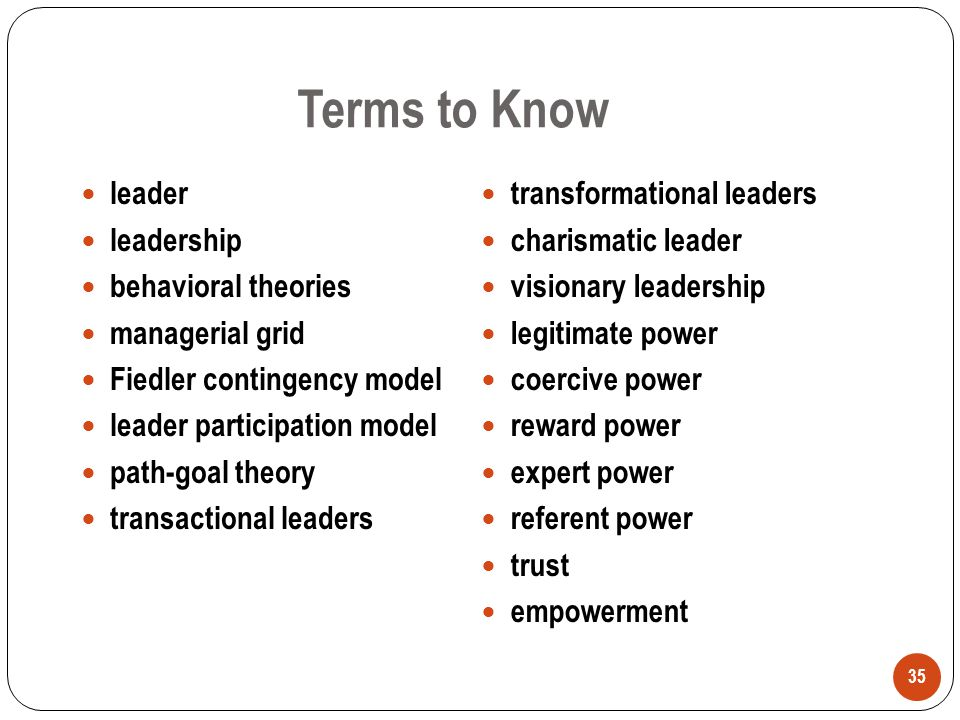 Terms to Know leader leadership behavioral theories managerial grid