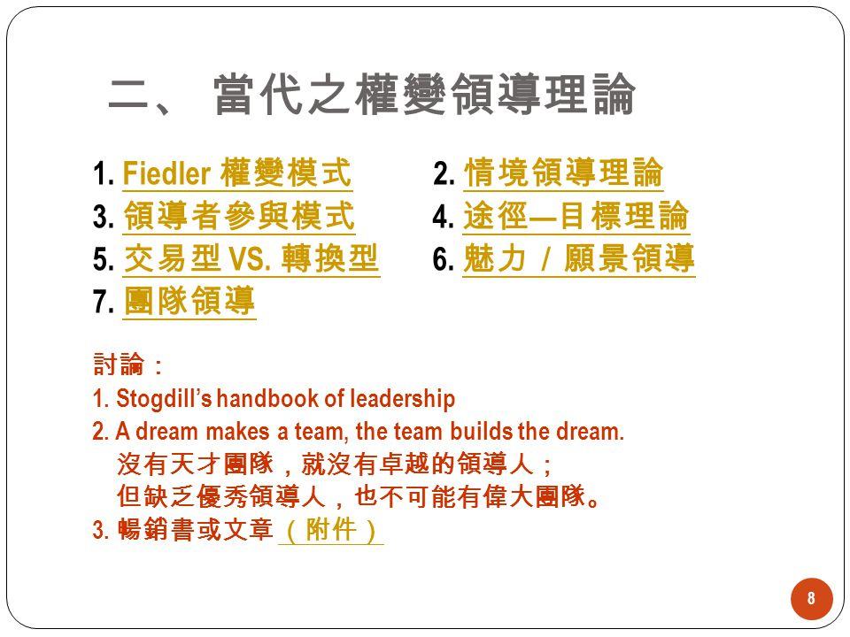二、 當代之權變領導理論 1. Fiedler 權變模式 2. 情境領導理論 3. 領導者參與模式 4. 途徑—目標理論