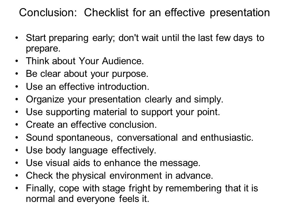 Conclusion: Checklist for an effective presentation