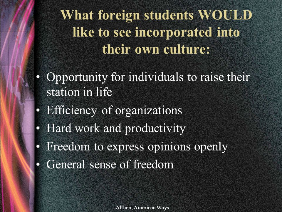 What foreign students WOULD like to see incorporated into their own culture: