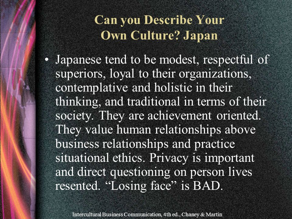 Can you Describe Your Own Culture Japan