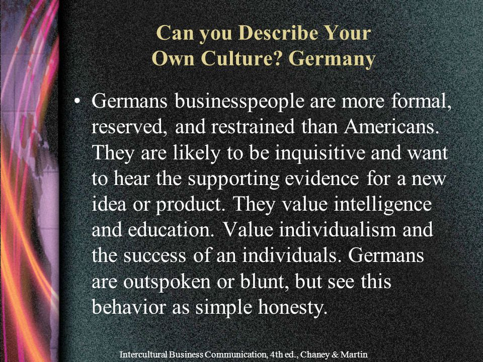 Can you Describe Your Own Culture Germany