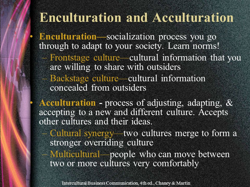 Enculturation and Acculturation