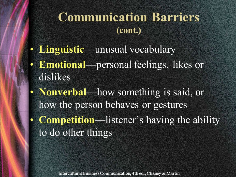 Communication Barriers (cont.)