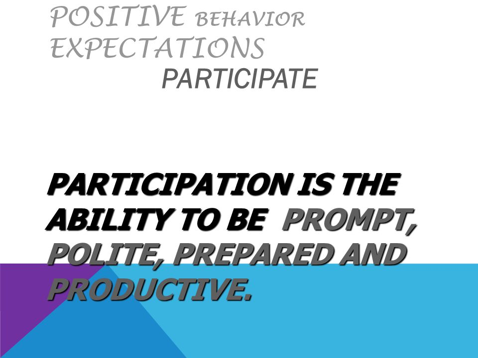 POSITIVE BEHAVIOR EXPECTATIONS