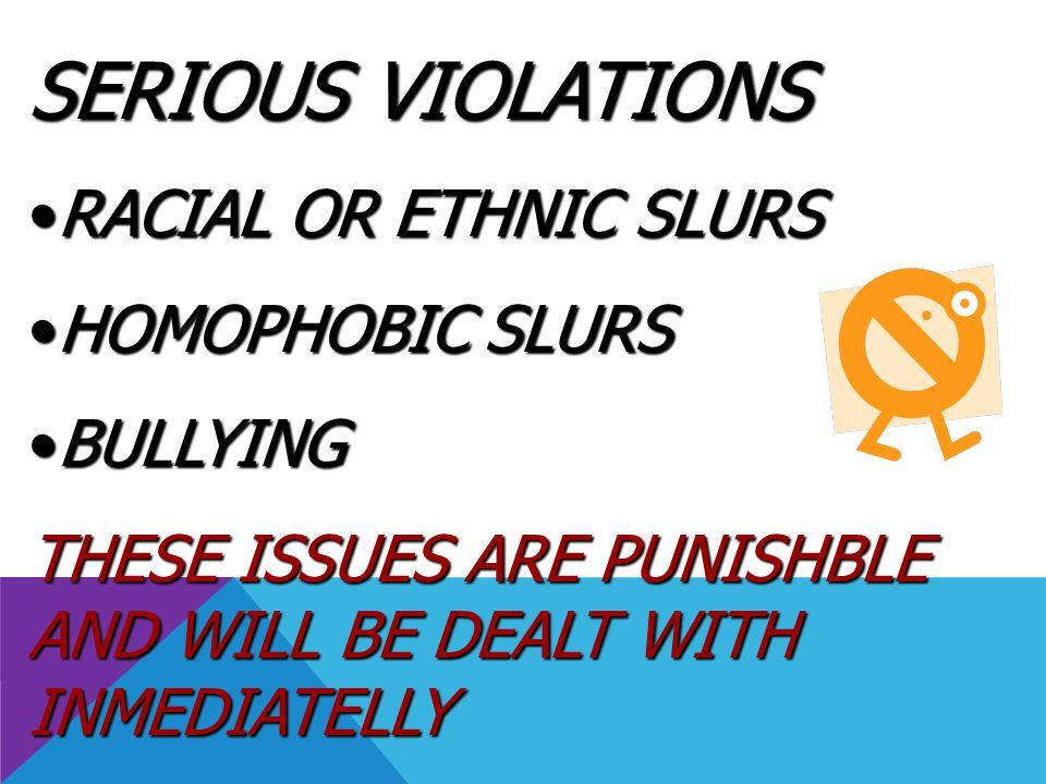 SERIOUS VIOLATIONS RACIAL OR ETHNIC SLURS HOMOPHOBIC SLURS BULLYING