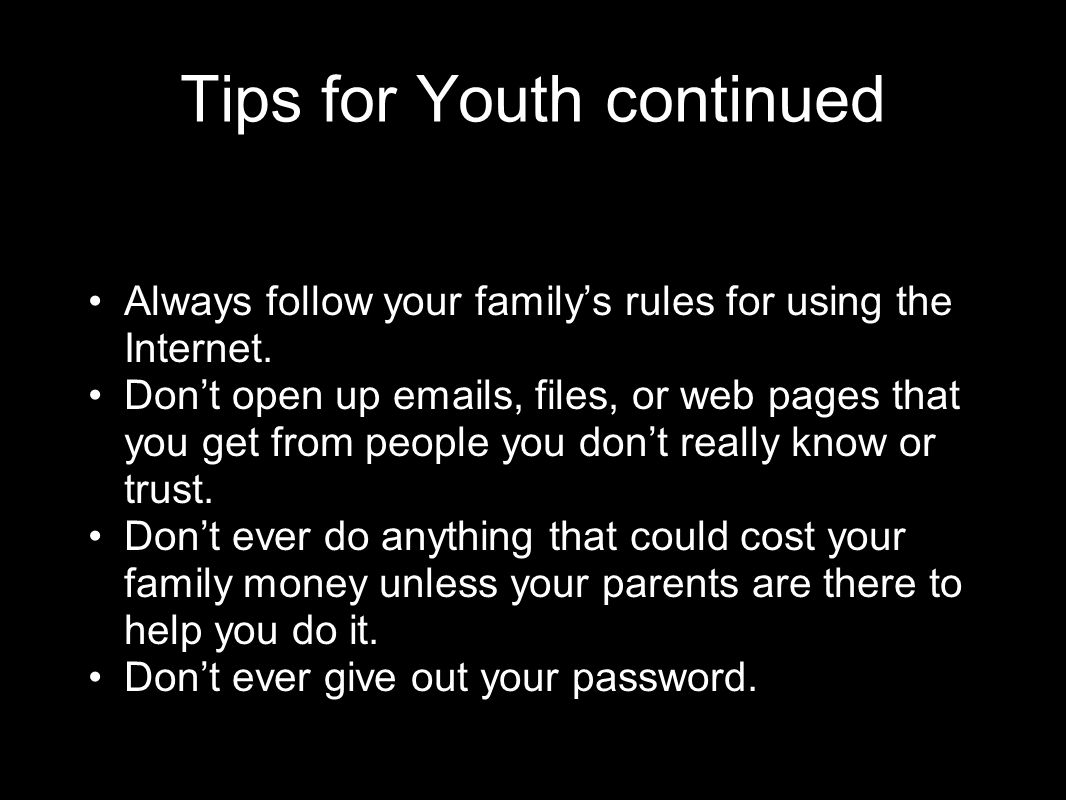 Tips for Youth continued