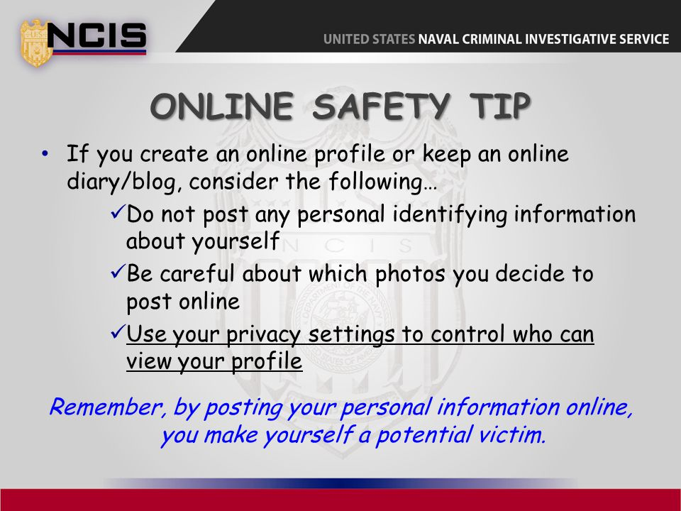 Online Safety Tip If you create an online profile or keep an online diary/blog, consider the following…