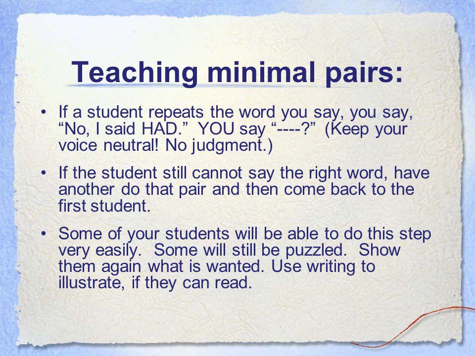 Teaching minimal pairs: