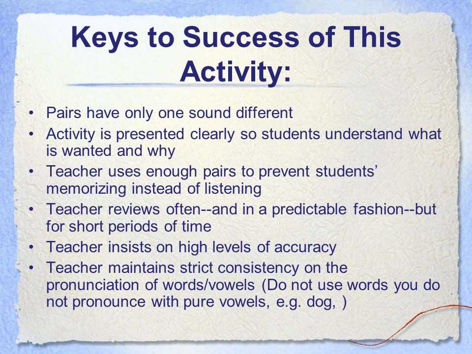 Keys to Success of This Activity: