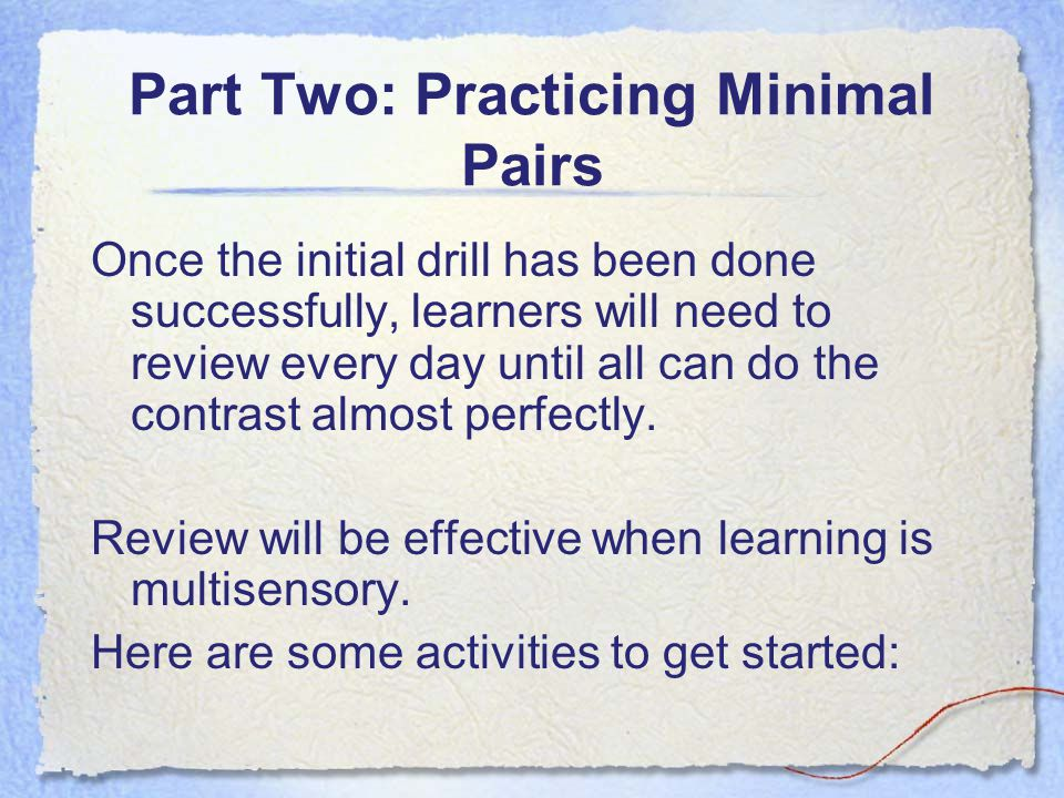 Part Two: Practicing Minimal Pairs