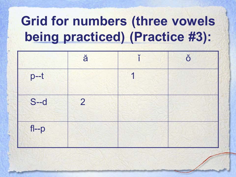 Grid for numbers (three vowels being practiced) (Practice #3):