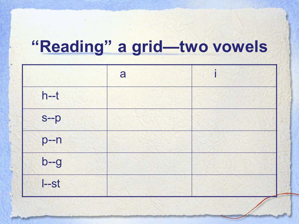 Reading a grid—two vowels