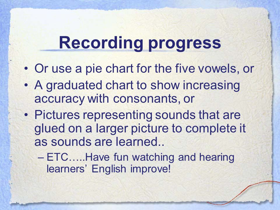 Recording progress Or use a pie chart for the five vowels, or