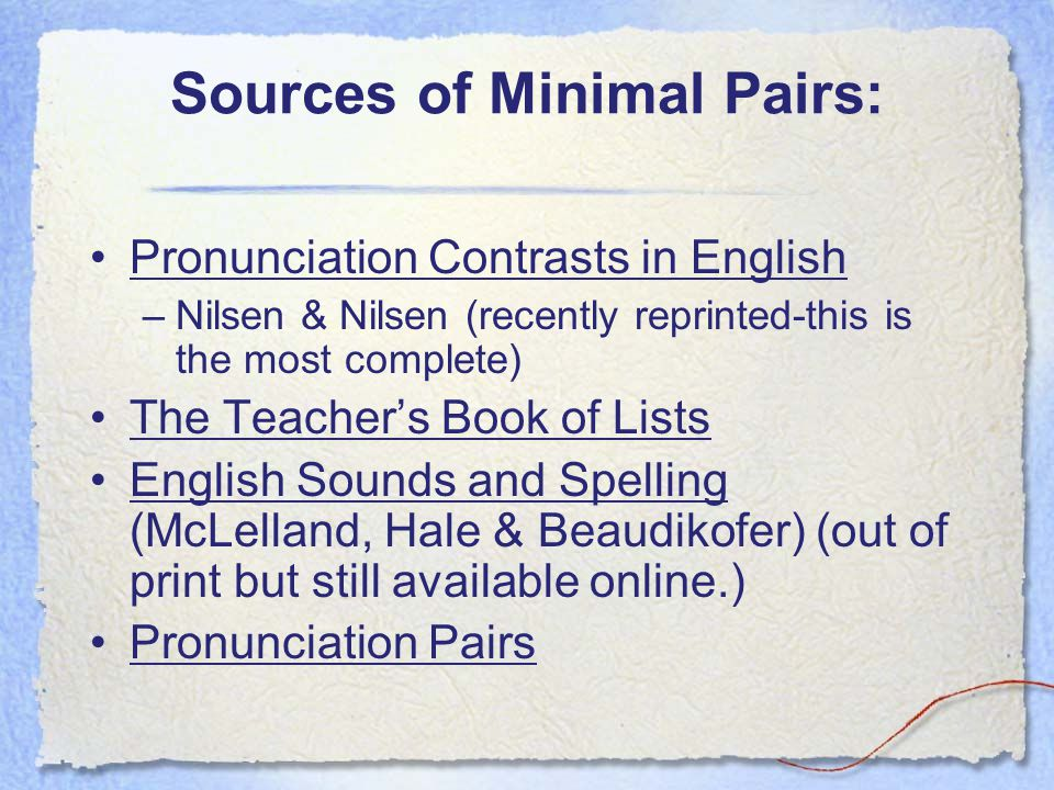 Sources of Minimal Pairs: