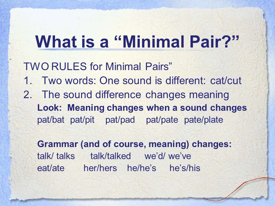 What is a Minimal Pair