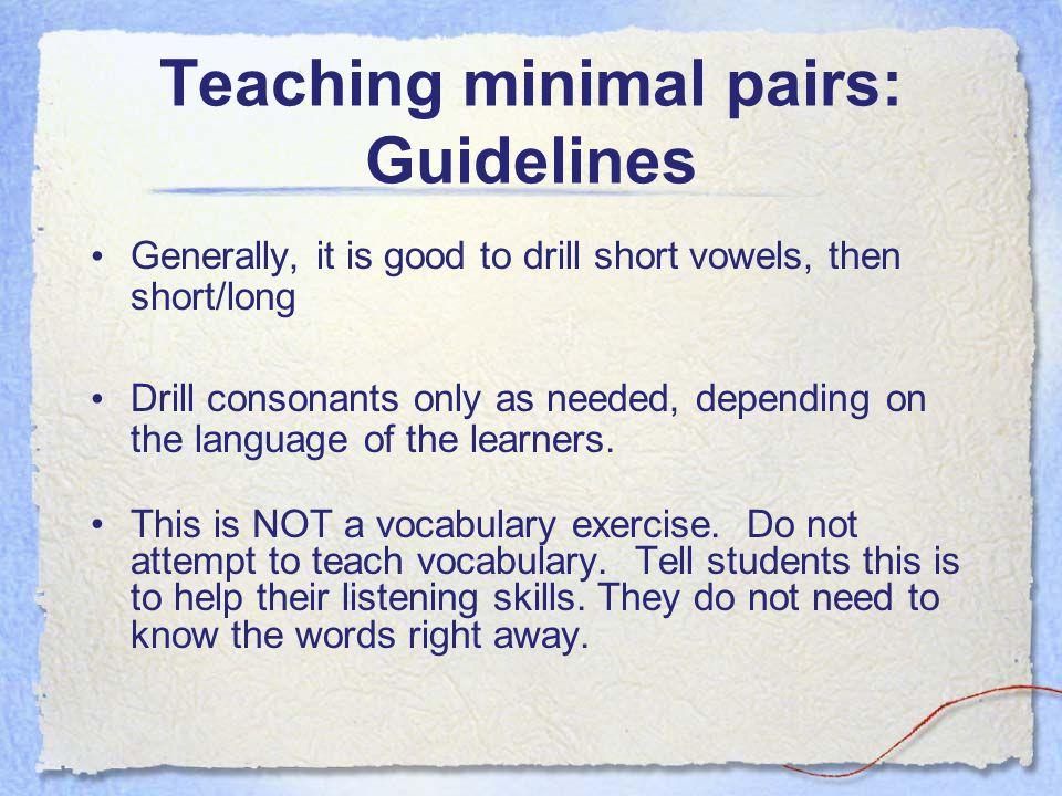Teaching minimal pairs: Guidelines