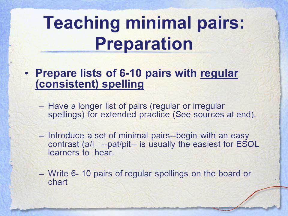 Teaching minimal pairs: Preparation