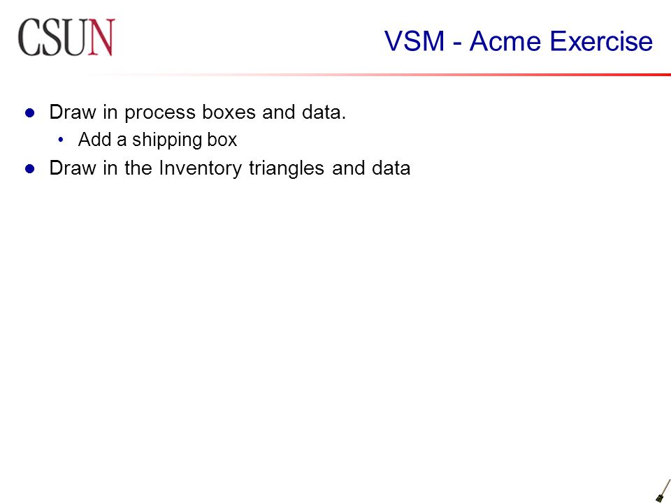 VSM - Acme Exercise Draw in process boxes and data.
