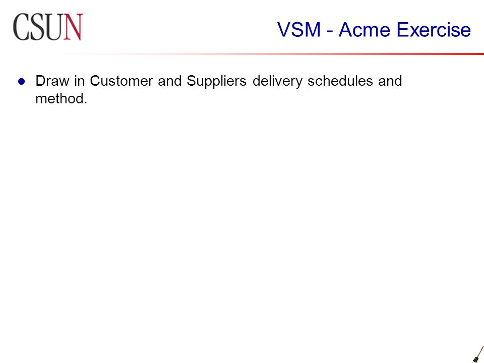 VSM - Acme Exercise Draw in Customer and Suppliers delivery schedules and method.